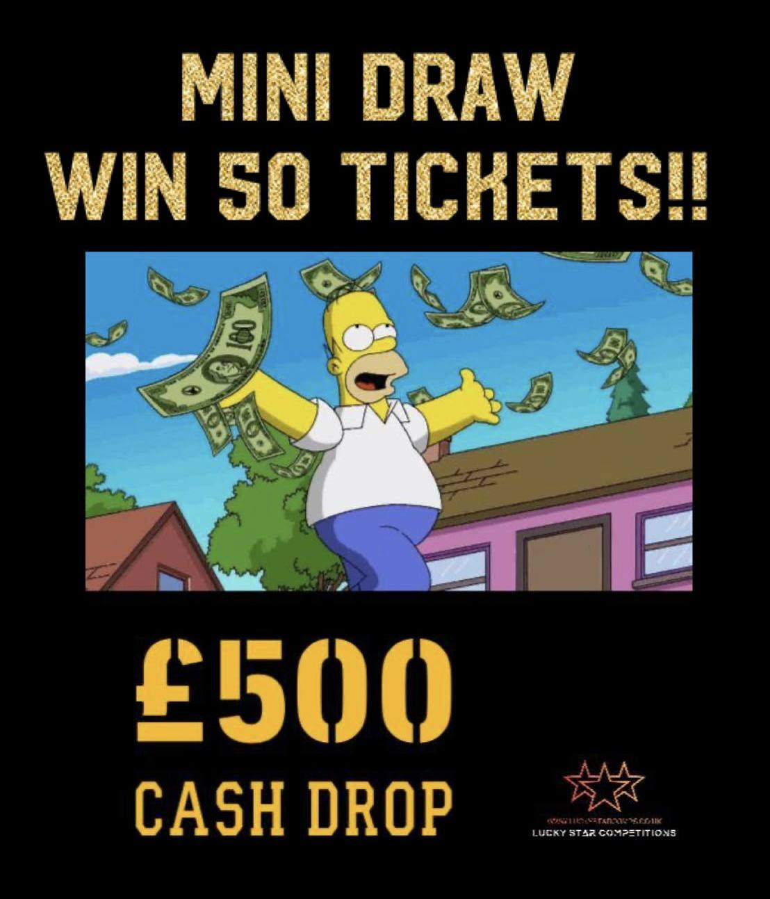 Entry List - Win x50 Tickets for £500 Cash Drop!
